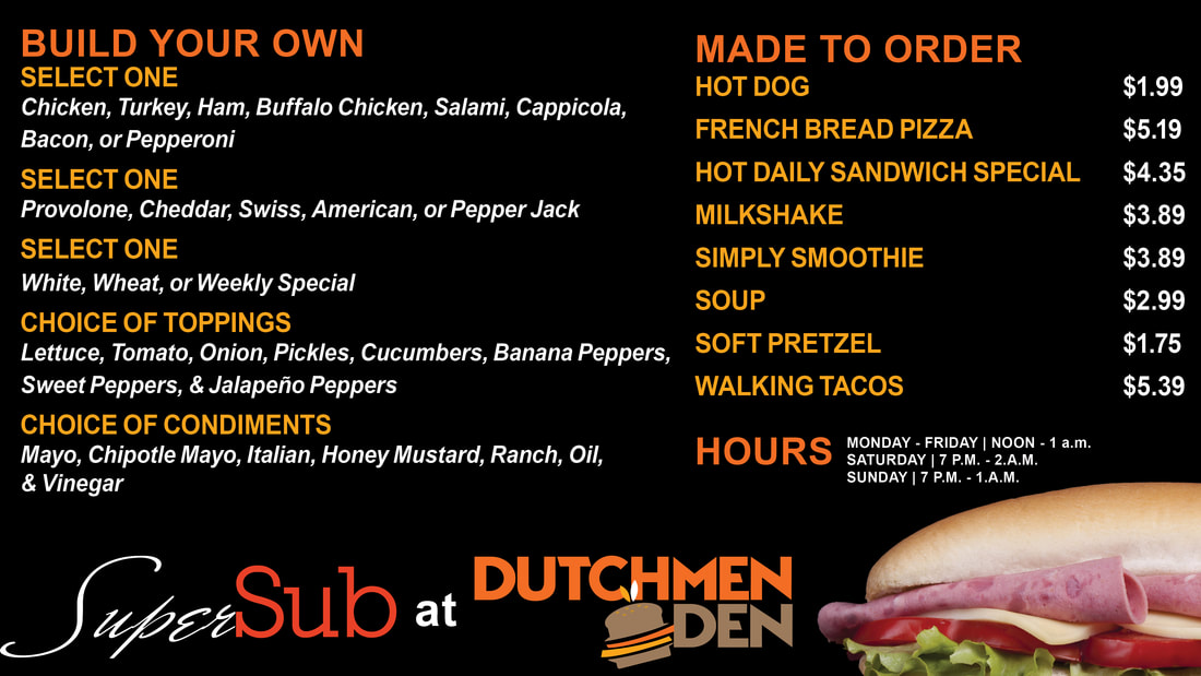 Super Subz menu. Visit our location for more information.